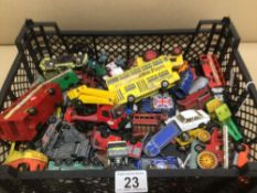 A QUANTITY OF PLAY WORN DIE-CAST TOY VEHICLES, DINKY MATCHBOX AND CORGI
