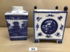 TWO PIECES OF BLUE AND WHITE CHINA, TEA CADDY AND MARKED RINGTONS LTD TEA MERCHANTS AND SQUARE VASE