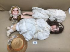 TWO VINTAGE GERMAN BISQUE DOLLS SCHOENAU AND HOFFMEISTER - 1909-6 AND ARMAND MARSEILLE 390 6 X 2M