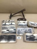 A QUANTITY OF EARLY BLACK AND WHITE STEREOSCOPIC SLIDES AND EARLY WOODEN VIEWER A/F (REALISTIC