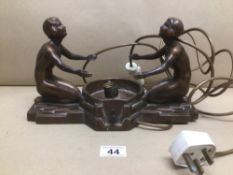 A 1930'S, 1940'S ART DECO NUART CREATIONS, LAMP IN SPELTER WITH A BRONZE EFFECT