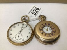 TWO GOLD PLATED POCKET WATCHES OPEN FACE HUNTER BY SUMMIT AND HALF HUNTER, UK P&P £15