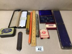 MIXED VINTAGE ITEMS RULERS, THERMOMETER AND MORE, UK P&P £15