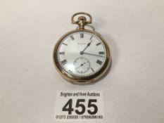 A GENTS ELGIN GOLD PLATED POCKET WATCH CASE 51MM EXCLUDING WINDER, UK P&P £15