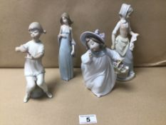 THREE LLADRO FIGURES-YOUNG GIRLS WITH A NAO FIGURE (6083, 315)