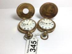 TWO POCKET WATCHES HUNTER AND HALF HUNTER BY WALTHAM GOLD PLATED, UK P&P £15