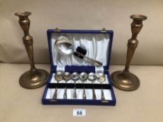 TWO BRONZE CANDLESTICKS 26CM WITH A CASED SET OF EPNS SPOONS, UK P&P £15