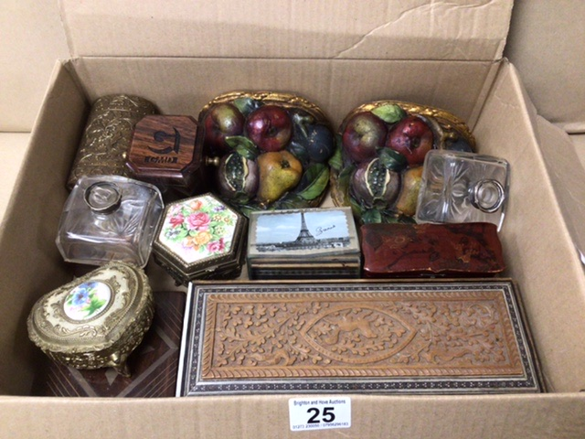 A MIXED BOX OF ITEMS, BOXES, BUTTONS, WALL SCONCES.