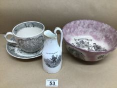 AN ADAM'S FARMER'S ARM'S CUP AND SAUCER, LUSTRE GLAZED SHIPWRIGHTS ARMS BOW 21CM AND A TRUSTED
