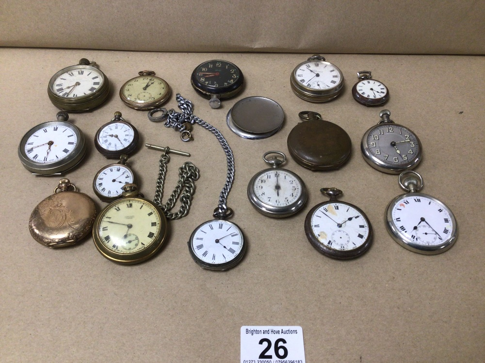 A QUANTITY OF POCKET WATCHES INCLUDES GOLD PLATED RAILWAY TIMEKEEPERS, SMITHS, AND F.W.CO £15 p/p
