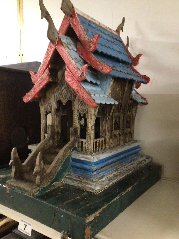 A MINIATURE VINTAGE WOODEN (VIHARA) BUDDHIST TEMPLE 53CM HIGH - Image 2 of 3