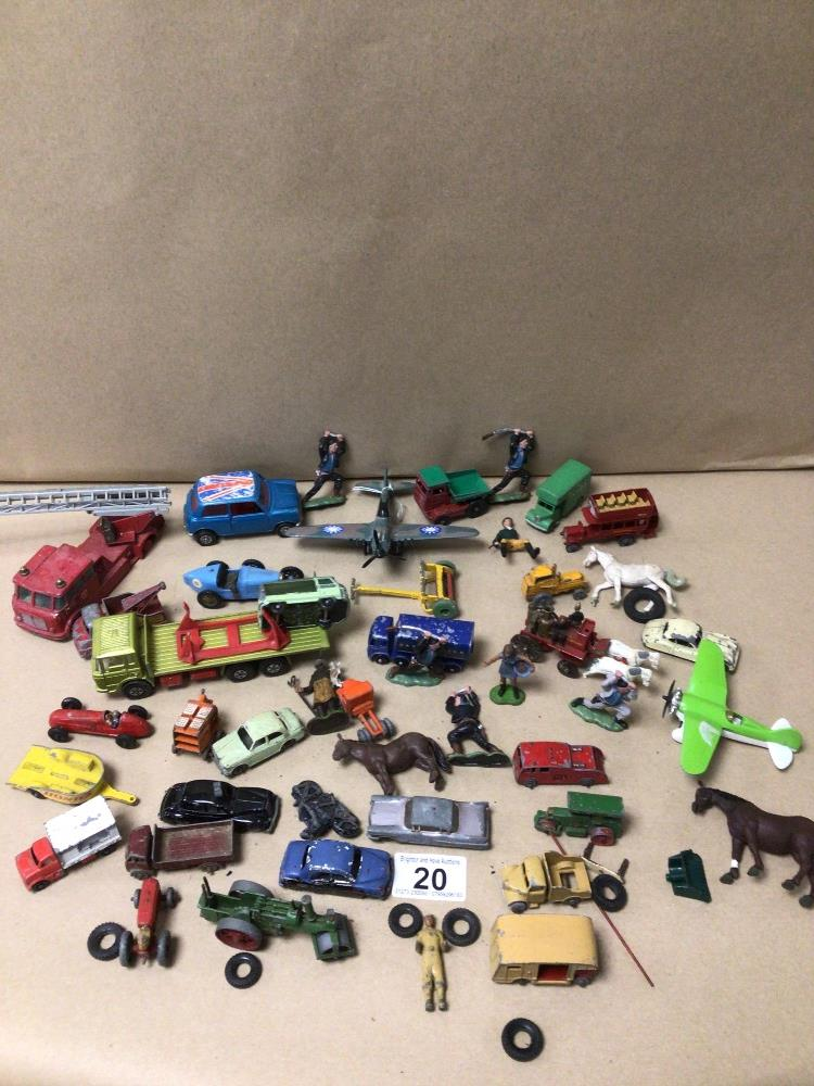 MIXED PLAY WORN DIE-CAST TOYS VEHICLES, MATCHBOX, LESNEY, AND CORGI