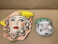 TWO VINTAGE CERAMIC WALL PLAQUES, ONE BY CROWN DEVON ( DOROTHY ANN), UKM P&P £20