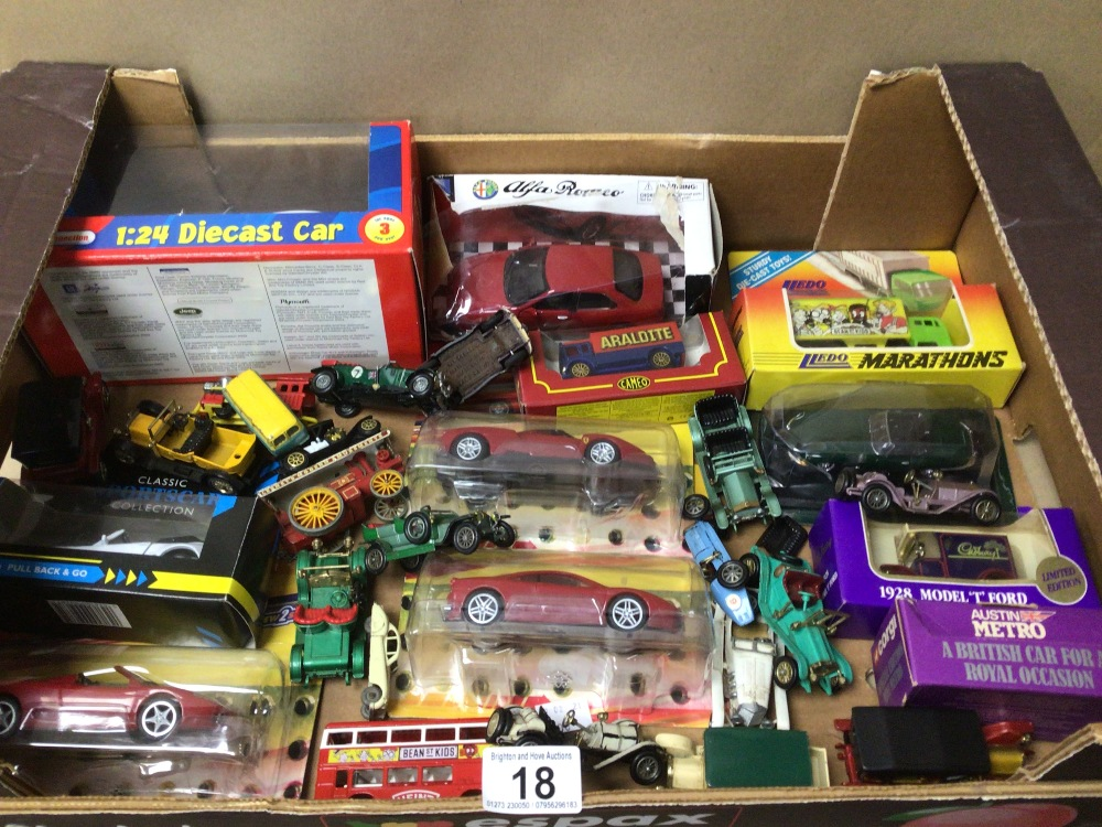 A MIXED BOX OF DIE-CAST TOY VEHICLES SOME BOXED LESNEY, LLEDO, AND MODELS OF YESTERYEAR