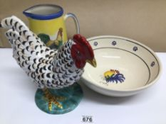 THREE CERAMIC ITEMS, ROOSTER, BOWL AND JUG