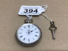 AN HALLMARKED LADIES FOB WATCH WITH KEY ENGRAVED TO BACK