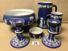 A QUANTITY OF WEDGEWOOD BLUE JASPERWARE INCLUDES A PAIR OF CANDLESTICKS