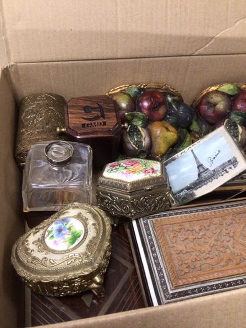 A MIXED BOX OF ITEMS, BOXES, BUTTONS, WALL SCONCES. - Image 2 of 3