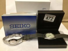 A GENTS SEIKO WATCH WITH INDIES TISSOT EXAMPLE, UK P&P £15