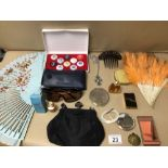 MIXED BOX OF FANS, COMPACTS, AND PERFUME WITH MORE