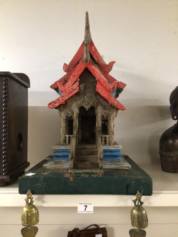 A MINIATURE VINTAGE WOODEN (VIHARA) BUDDHIST TEMPLE 53CM HIGH