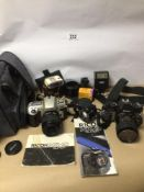 MIXED CAMERAS, NIKON, RICDH WITH ACCESSORIES