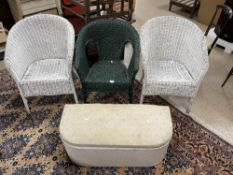 THREE LLOYD LOOM STYLE CHAIRS WITH A LINEN BASKET