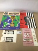 A 1966 JULES RIMET CUP WORLD CHAMPION PROGRAMME WITH TICKET AND A LIVERPOOL F.C. VS JUVENTUS F.C.