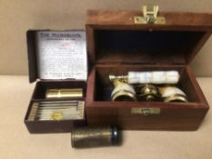 A PAIR OF MOTHER OF PEARL GLASSES IN TEAK BOX WITH TWO MONOCULAR MICROSCOPES, ONE BOX WITH SLIDES