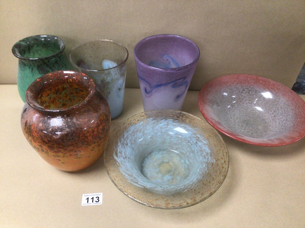 SIX PIECES OF VASART GLASS ITEMS