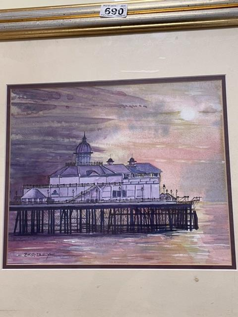 BRADLEY TWO SIGNED FRAMED AND GLAZED WATERCOLOURS BY LOCAL ARTIST, (BRIGHTON PIER AND AFTER THE - Image 10 of 10