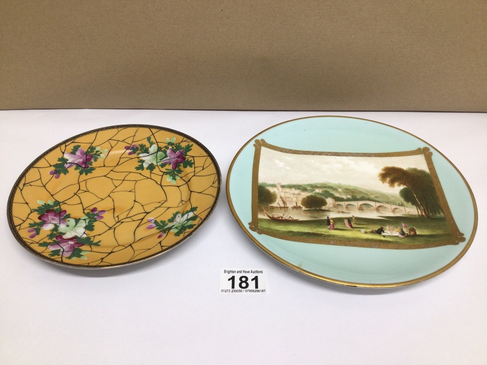 TWO HAND-PAINTED PLATES ONE WITH ORIENTAL CHARACTER MARKS TO BASE DECORATED WITH FLOWERS AND THE