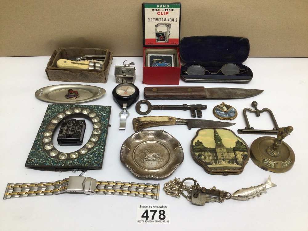 MIXED ITEMS INCLUDES STAHWX HORN HANDLE KNIFE, PICTURE FRAME, GLASSES AND MORE