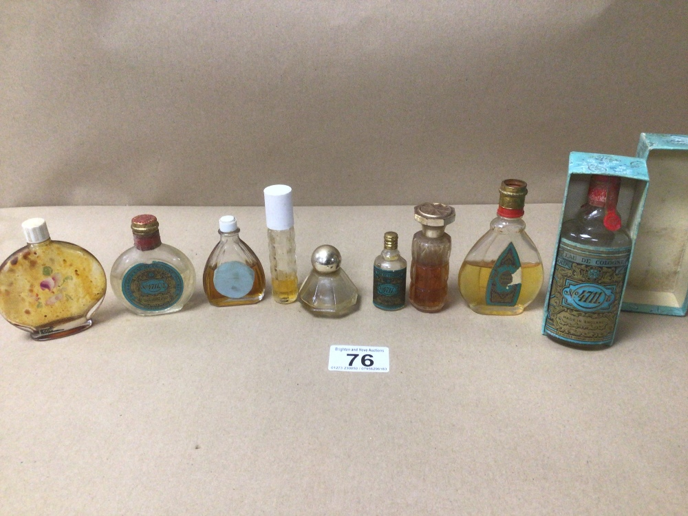 NINE SMALL VINTAGE OF MIXED COLOGNE AND PERFUME BOTTLES, ONE BOXED, SOME WITH CONTENTS, INCLUDES NO.