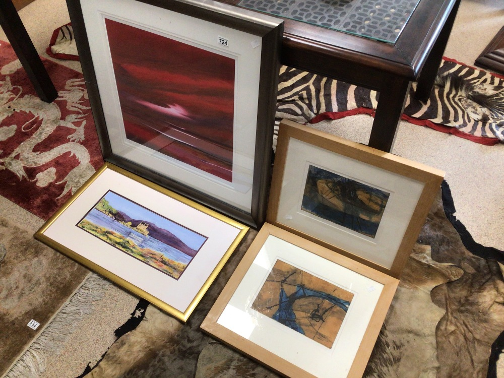 THREE LIMITED EDITION PRINTS WITH A FRAMED WATERCOLOUR, LARGEST PRINT BY JONATHAN SHAW RUBYSKIES II,