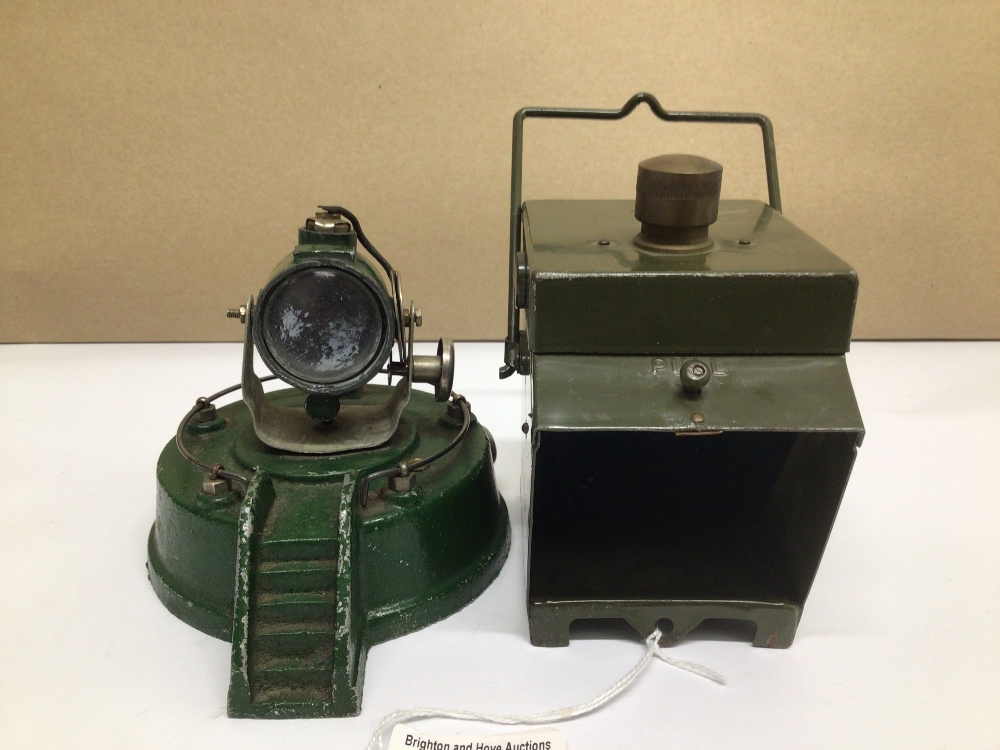 AN ASTRA PHAROS SEARCH LIGHT A/F WITH A MILITARY MOTORBIKE LAMP - Image 2 of 6