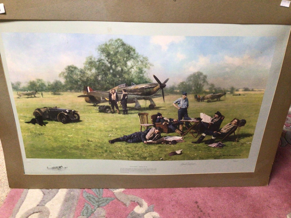 A SIGNED DAVID SHEPHERD LIMITED EDITION PRINT 70 / 850 (AT READINESS SUMMOL 1940), UNFRAMED - Image 2 of 4