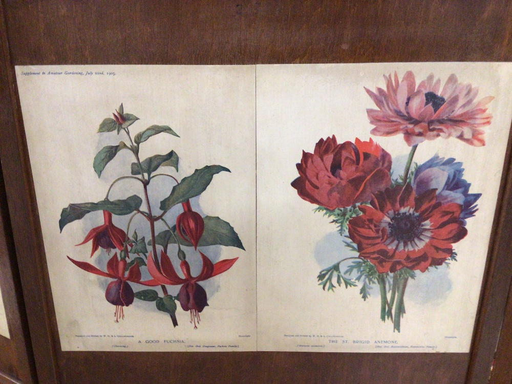 A VINTAGE WOODEN FOUR FOLD SCREEN DECORATED WITH VICTORIAN FLOWER PRINTS/ AND VICTORIAN DRESSWEAR - Image 3 of 5