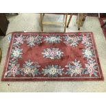 A VINTAGE CHINESE WOOL CARPET/RUG BY SEAGULL, 150 X 90CM
