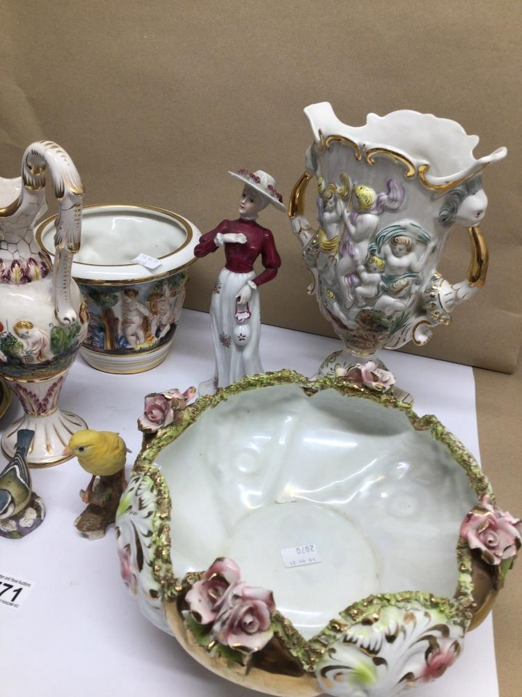A QUANTITY OF MIXED CHINA ITEMS, CAPO DI MONTE, ROYAL WORCESTER BLUE TIT - Image 2 of 8