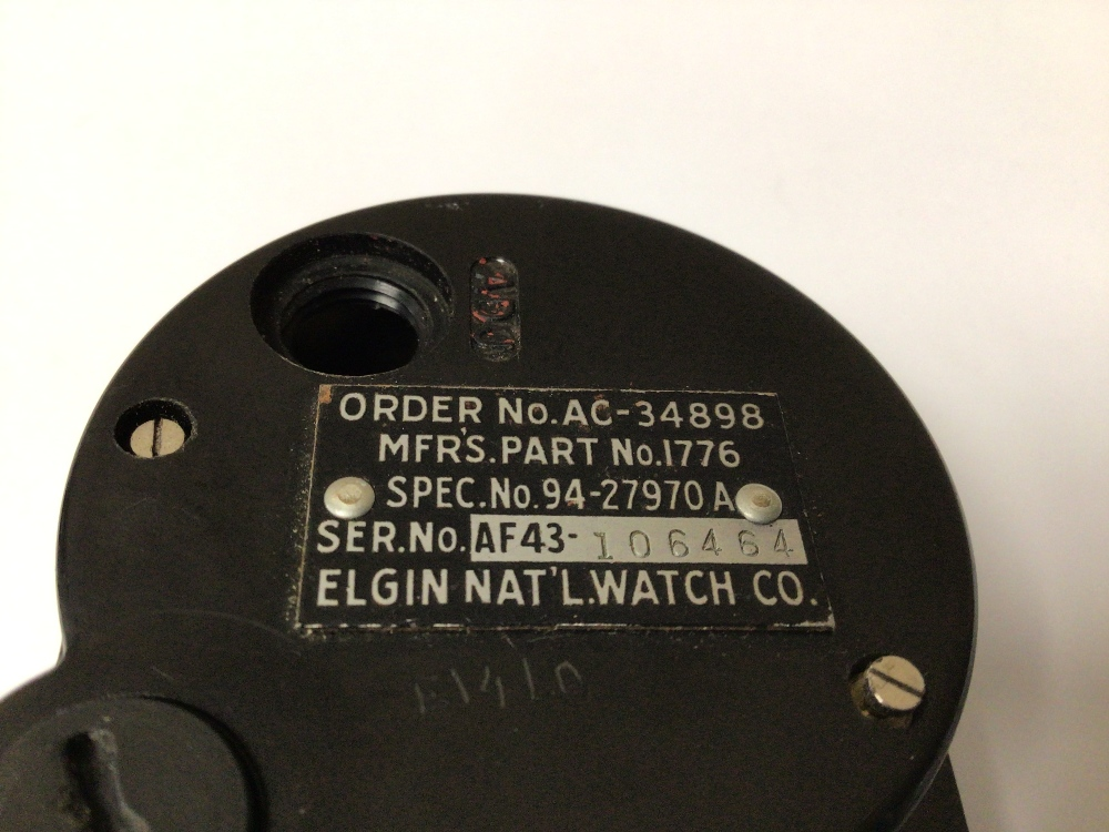 A WWI 1943 US AIRCRAFT ELGIN 8 DAY CLOCK, 6CM - Image 4 of 4