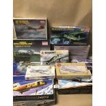 ELEVEN BOXES OF MODEL KIT AIRCRAFT, SOME SEALED, CONTENTS UNCHECKED, INCLUDES A REVELL FOCKE WULF FW