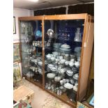 A DOUBLE FRONT (PAIR) OF DISPLAY CABINETS 232 X 224 X 60CM