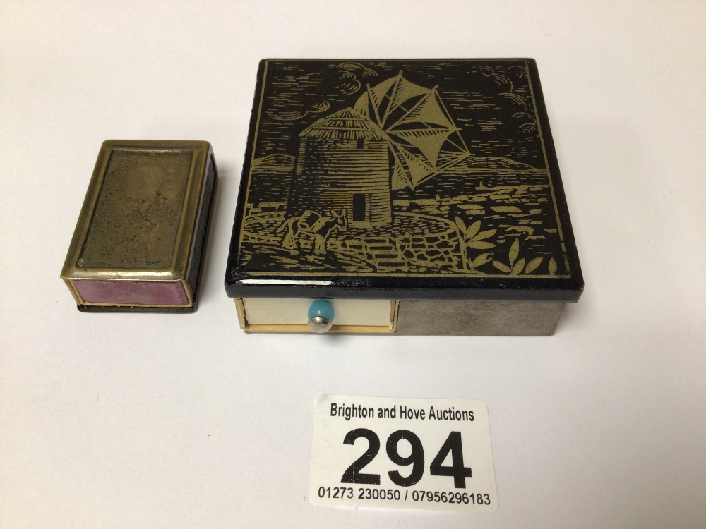 TWO MATCHBOX HOLDERS/STRIKERS LARGEST ONE DECORATED WITH A WINDMILL, 7.5CM