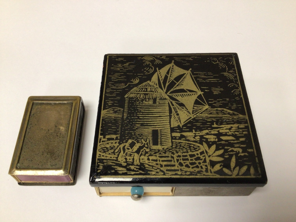 TWO MATCHBOX HOLDERS/STRIKERS LARGEST ONE DECORATED WITH A WINDMILL, 7.5CM - Image 2 of 3