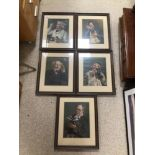 PEARS, FIVE FRAMED AND GLAZED PRINTS, 36 X 45CM