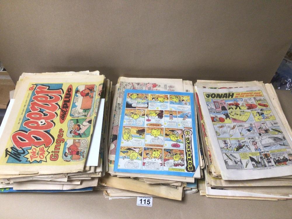 A LARGE QUANTITY OF VINTAGE COMICS 70S & 80S, 108 X BEEZER, 3 X WHIZZER, 2 X WHOOPEE, 1 X SCHOOL