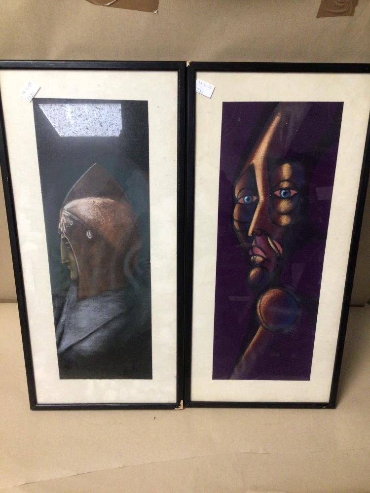 TWO FRAMED AND GLAZED PICTURES OF FIGURES ONE INDISTINCTLY SIGNED 27CM X 57CM