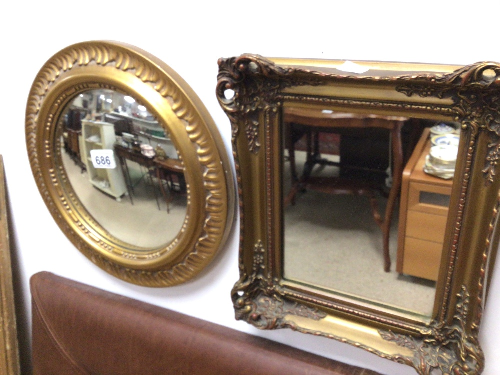 TWO VINTAGE GILDED MIRRORS, CONVEX 37CM AND 30 X 34CM