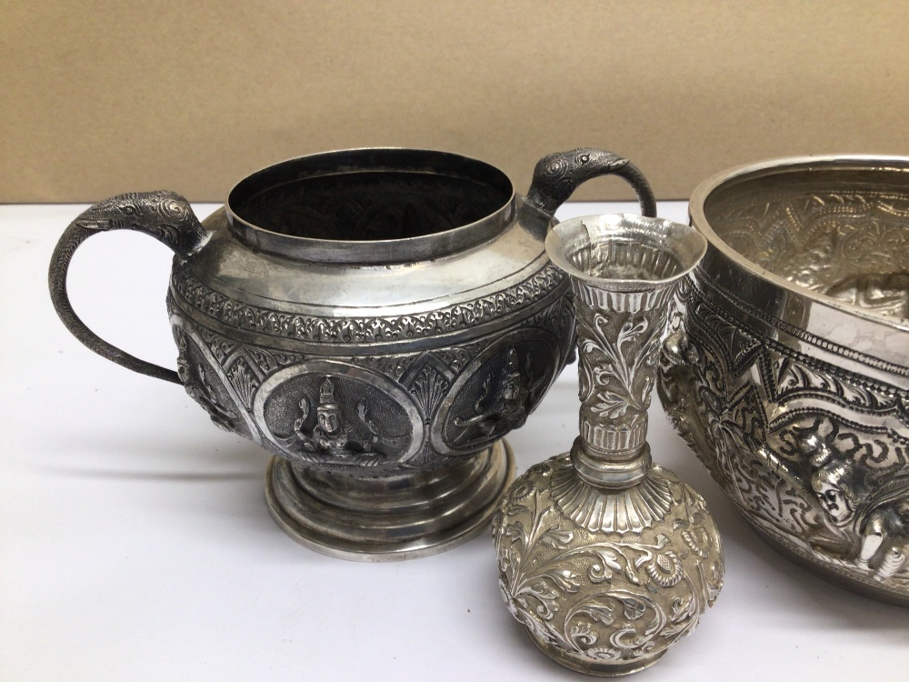 FOUR PIECES OF MIDDLE EASTERN WHITE METAL ALL HIGHLY EMBOSSED - Image 2 of 5